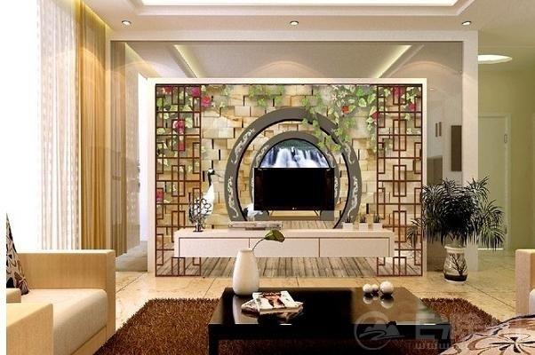 客厅电视背景墙中引入拱门的形状