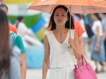 街拍白衫裙美女